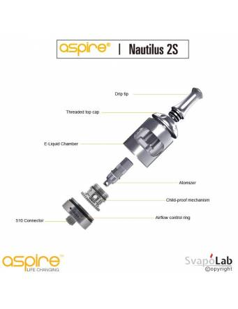 Aspire Nautilus 2S atomizer 2,6 ml (ø23mm)