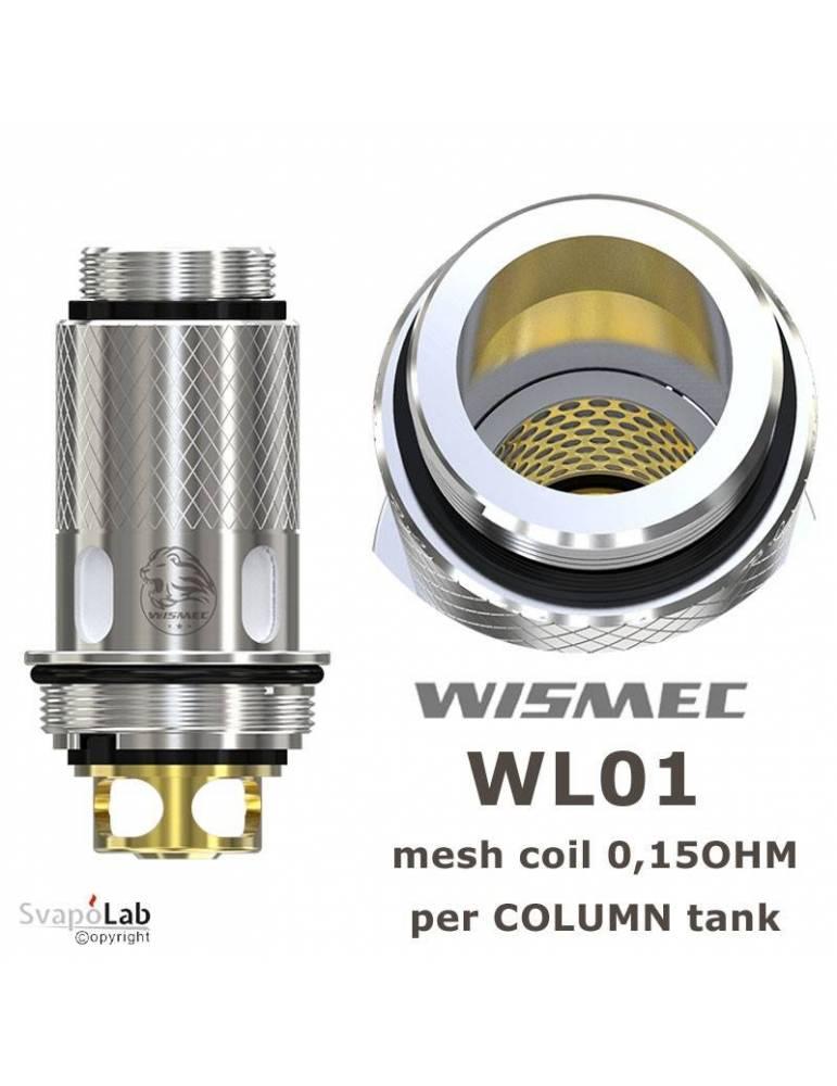 Wismec WL01 coil 0,15 ohm (1 pz) per COLUMN e TINKER