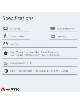 Vaptio COSMO PLUS kit 1500 mah specifiche tecniche