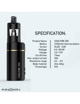 Innokin COOLFIRE Z50 kit 2100mah/50W (con ZLIDE tank 2ml) - specifiche tecniche